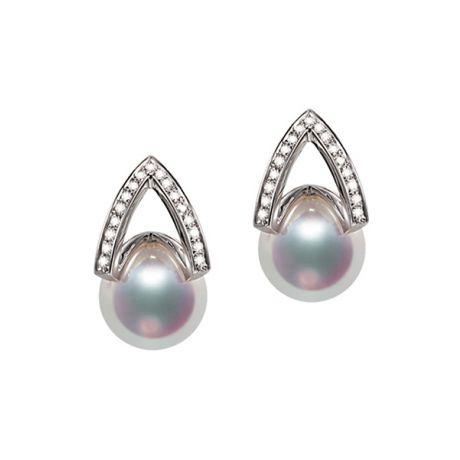 Boucle d oreille or blanc - diamant - Perle Akoya Japon - Masako
