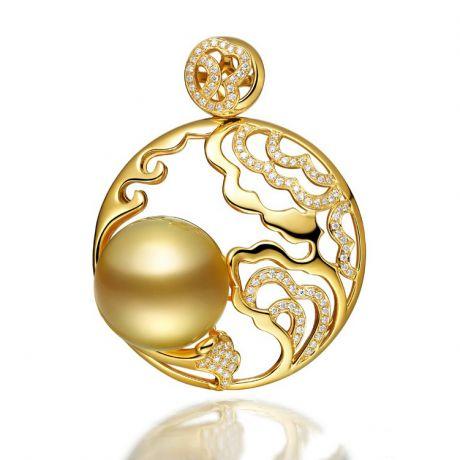 Pendentif fleur de pivoine - Perle d'Australie dorée
