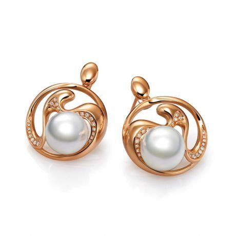 Boucles d'oreilles fleurs de pêcher - Perles d'Australie blanches