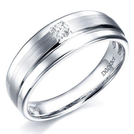 Bague anneau moderne Homme - Or blanc et Diamant central 0.083ct
