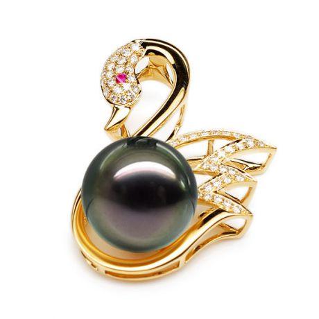 Pendentif cygne - Perle de Tahiti - Or jaune, diamants, saphir rose