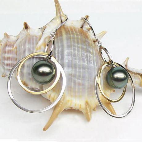 Boucles oreilles 2 anneaux or blanc et jaune 18cts - Perles de Tahiti