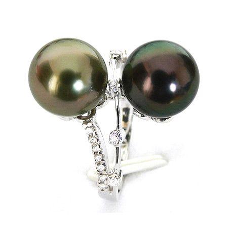 Bague Toi et Moi - You and Me - Perles de Tahiti, or blanc, diamants
