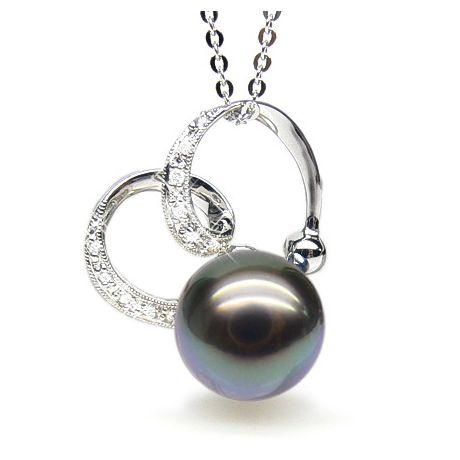 Pendentif double boucle or blanc - Perle de Tahiti - Or blanc, diamants