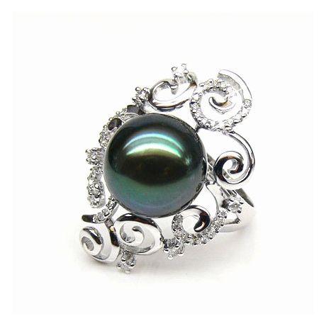 Bague Weddel - Perle de Tahiti - Or blanc, diamants sertis griffes