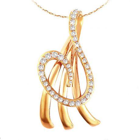 Pendentif or jaune Dieu de la Mer - Pavage en diamants élégant