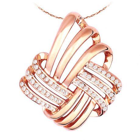 Pendentif quadrato or rose - 12 branches sinueuses et diamants pavés