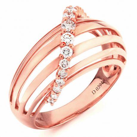 Bague contemporaine or - Barrettes or rose, diamant - Diamants 0.394ct