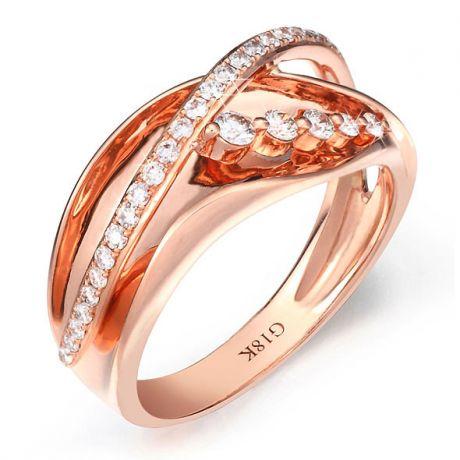 Fiançaille bague - Bague en or rose 18cts - 35 Diamants de 0.33ct