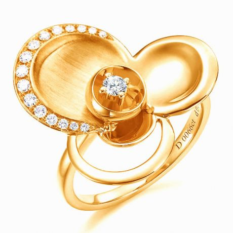 Bague diamants - Bague de fiançaille - En or jaune 18 carats