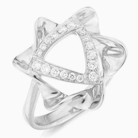 Bague étoile - Or blanc - Pavage diamants 0.21ct