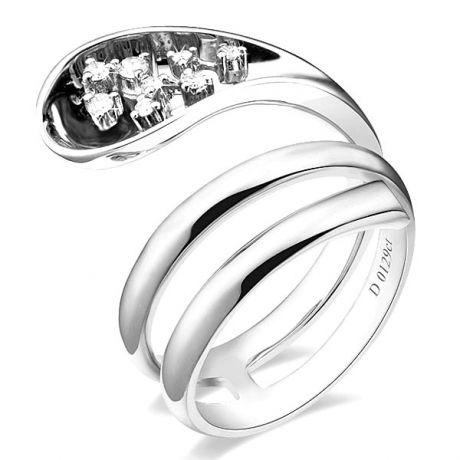 Bague Femme anneau enlacé - Bague en or blanc - 9 Diamants 0.129ct