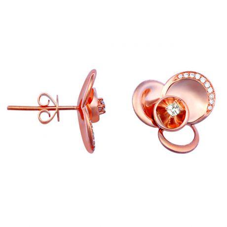 Boucles oreilles or rose - Clous tiges pousssettes belges - Diamants