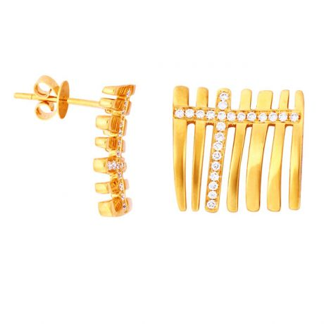 Paire de pendants d'oreilles en or jaune 18 carats - Diamants 0.23ct