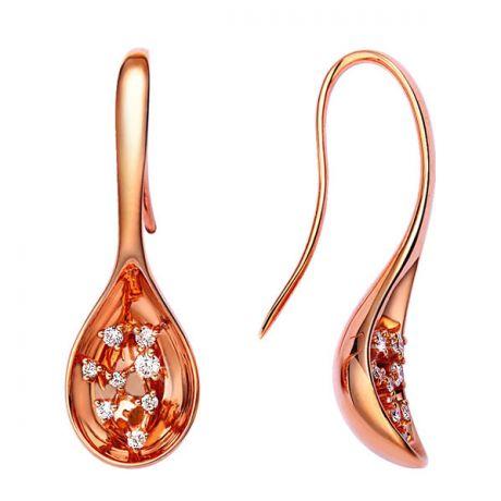 Boucles d'oreilles crochets or rose - Diamants - Cuillères joaillerie