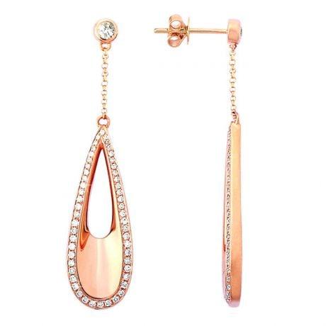 Boucles d oreilles gouttes d'eau en or rose 18cts - Diamants 0.69ct