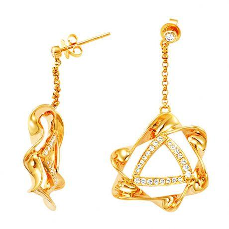 Boucles d'oreilles étoiles sensuelles en or jaune 18cts - Diamants