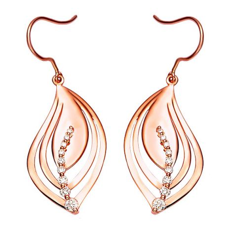 Boucles d'oreilles en forme de feuilles - Crochets or rose, diamants