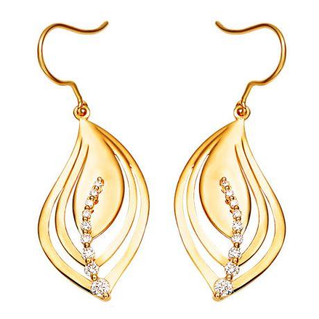 Boucle oreille crochets formant 2 feuilles en or jaune - Diamants