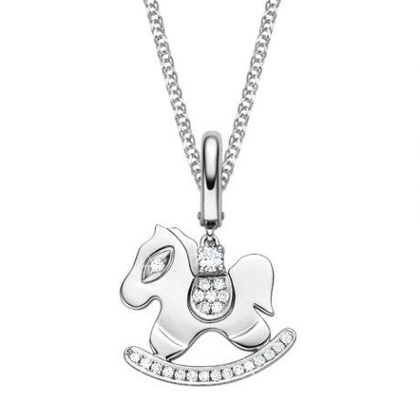 Pendentif or blanc diamants du cheval à bascule - Joaillerie ludique