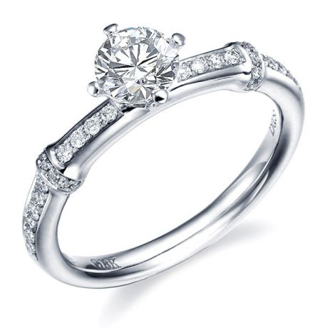 Bague bambou - Solitaire or diamants 0.50ct - Canne or blanc