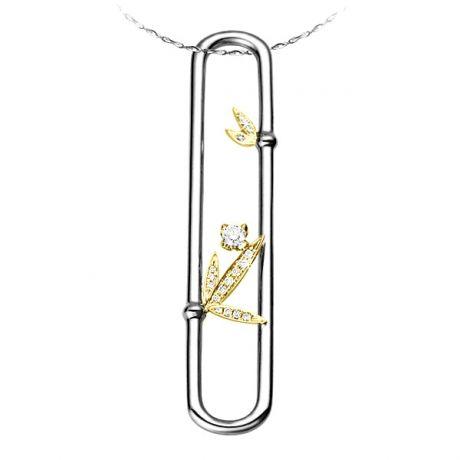 Pendentif bambou duo d'or jaune et blanc - Diamants noeuds cloisonnés