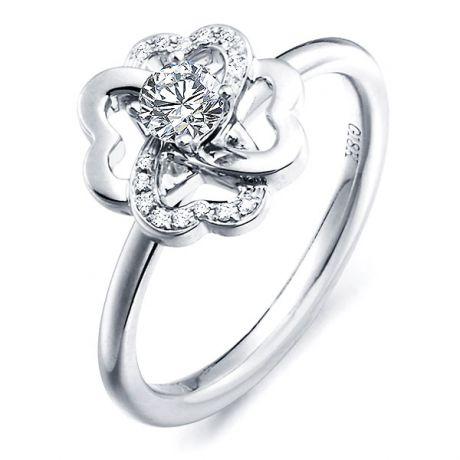 Bague Fleur - Bague de mariage et fiançaille - Or blanc, diamants