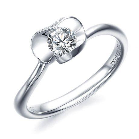 Bague solitaire or blanc diamants - Fleur stylisée pétales coeur