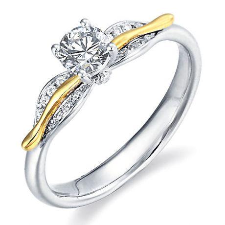 Solitaire 2 ors - Bague fiancaille diamants 0.30ct - Joaillerie