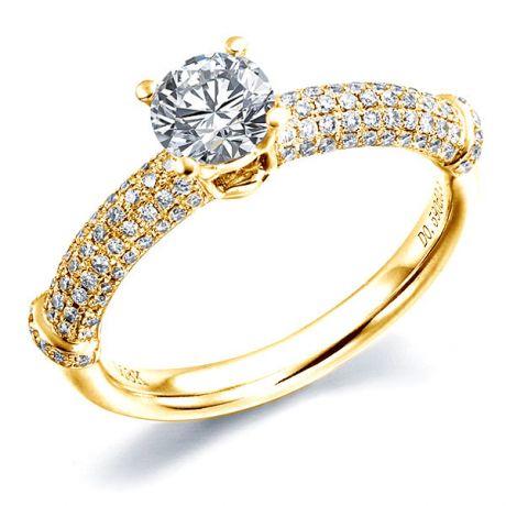 Bague bambou solitaire or jaune - Anneau de prestige diamants 0.97ct