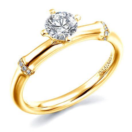 Bague bambou - Solitaire or jaune style végétal - Diamants 0.553ct