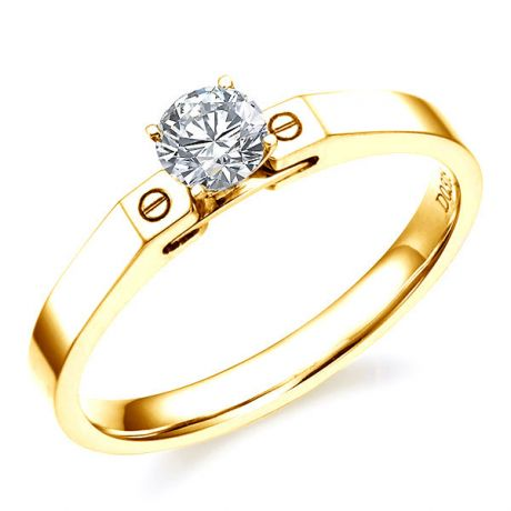 Bague solitaire or jaune - Diamant 0.31ct