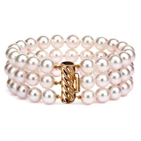 Bracelet 3 rangs - Bracelet perles Japon - Perle Akoya - 6.5/7mm