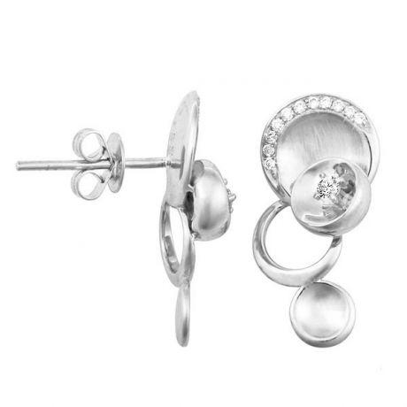 Boucles d'oreilles - Boucle diamant or blanc 18cts - Mélange raffiné