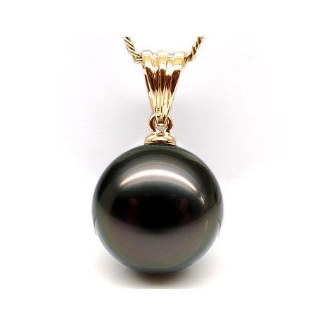 Pendentif bélière or jaune striée - Perle de Tahiti noire, bronze