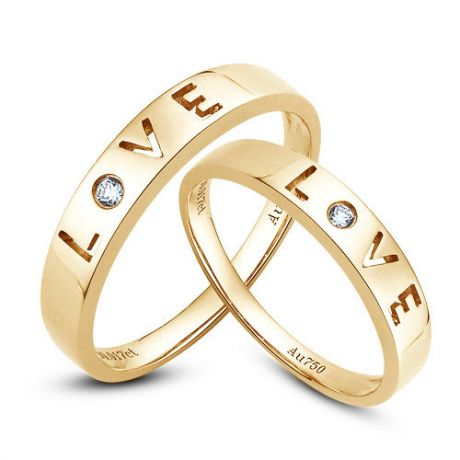 Alliances Love - Alliances Duo d'or jaune - Diamants