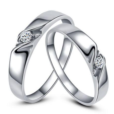 Alliances mariage en or - Alliances Duo - Or blanc 18 carats - Diamant