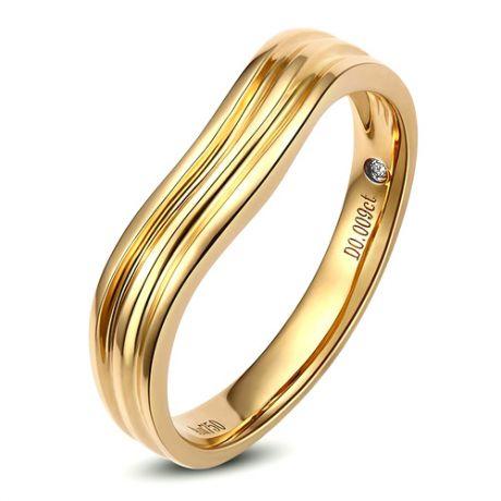 Alliance ondulée motifs striés - Or jaune 18cts - Diamant - Femme