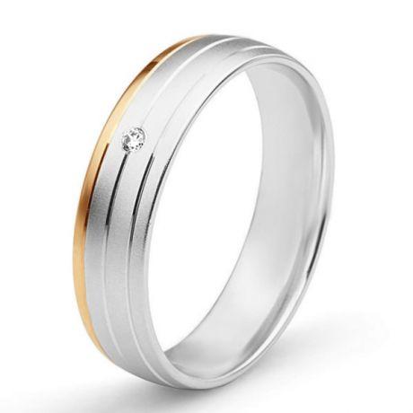 Alliance de prestige bicolore - 2 ors, diamant - Madame