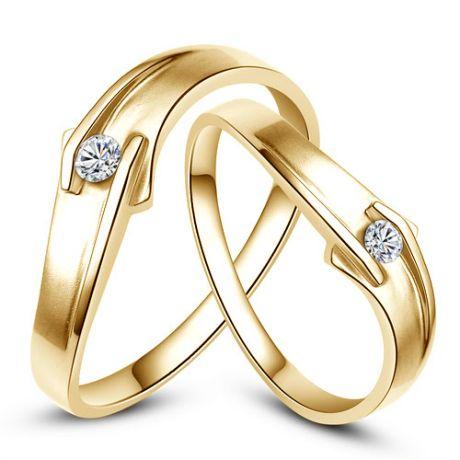 Alliances diamants or jaune - Alliances Couple