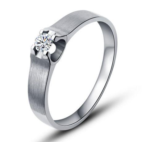 Alliance platine et diamant - Alliance solitaire pour Femme