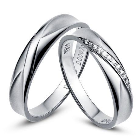 Duo d'alliances prestige - Design en diagonale -  Or blanc, diamants
