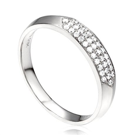 Alliance en biseau pour elle. Or blanc, diamants pavés