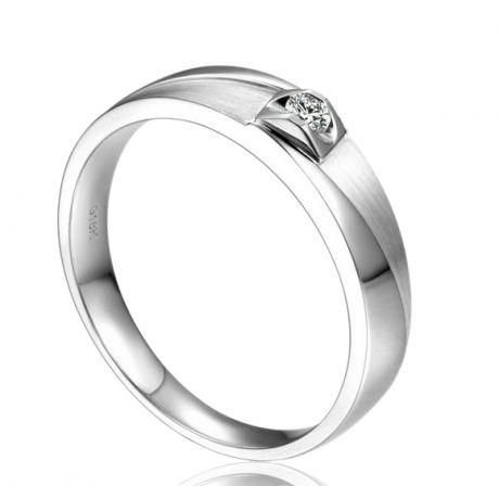 Alliance brossée et polie platine, diamant. Femme
