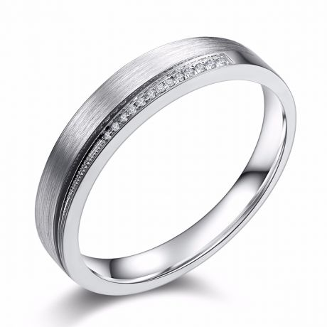 Alliance Femme une pointe d'amour. Or blanc, diamants