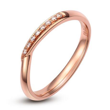Alliance or rose diamants - Alliance Femme