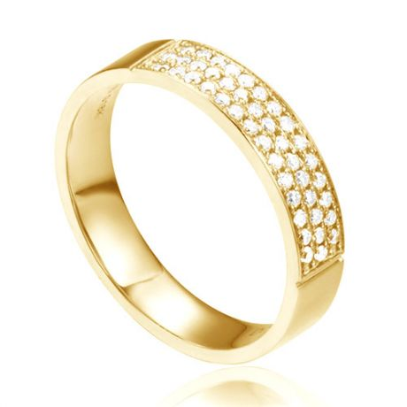 Alliance or jaune pour Femme - Pavage de 43 diamants