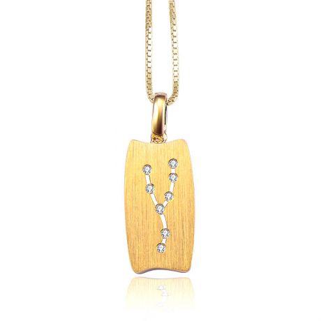 Pendentif zodiaque or jaune - Constellation du taureau - Diamants