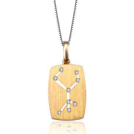 Pendentif or jaune signe de la vierge - constellation zodiaque