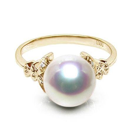 Bague or perle du Japon - Perle Akoya blanche - Or jaune, diamants